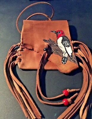 Woodpecker  Handpainted Lambskin Mecicine bag, with fringe and Pony beads.