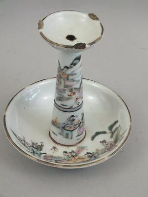 A CHINESE PORCELAIN OIL-LAMP WITH FIGURES  DECOR 19thC