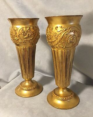 Pair / 19th Century / French /Ormolu Bronze Fluted Vases.