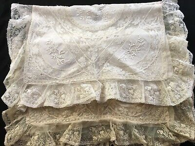 Antique French Lilliputian Bazaar Handmade Lace Pillow Cases Best & Co France