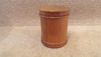 Small Treen Wooden Barrel Shape holder and Lid 4 inches in height