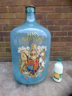 A Large Carboy Bottle With Royal Coat Of Arms,hms Neptune,date Pressing G 1916