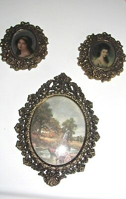 Antique/Vintage Three Small Ornate Oval Brass Pictures Frame Convex ITALY - USED