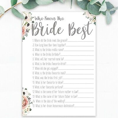 Who Knows The Bride Best Hen Party Games Quiz Hen Party Accessories Bride To Be