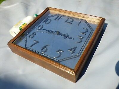 A Good Art Deco Mirror Faced Slave Wall Clock With Later Quartz Movement Fittted