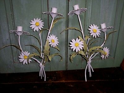 2 vintage italian tole metal daisy flower candlestick wall sconce chippy paint