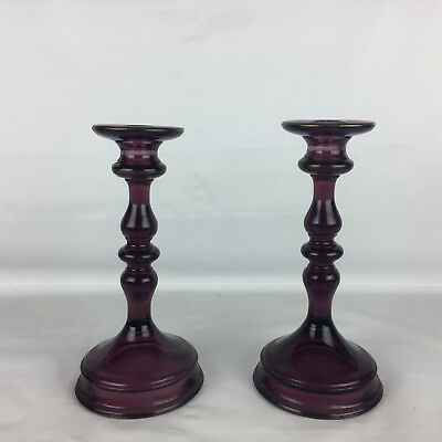 "Tiffin Glass Candle Holders Amethyst 8-1/2"" Antique 1920s Purple Etched Pair"