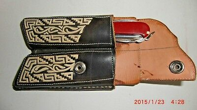 New Custom Hand Made Leather Sheath for two knives black leather with design