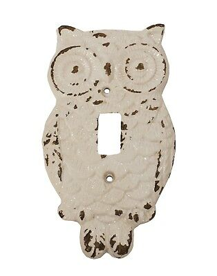 White Painted Owl Single Switch Plate Wall Cover Distressed Metal
