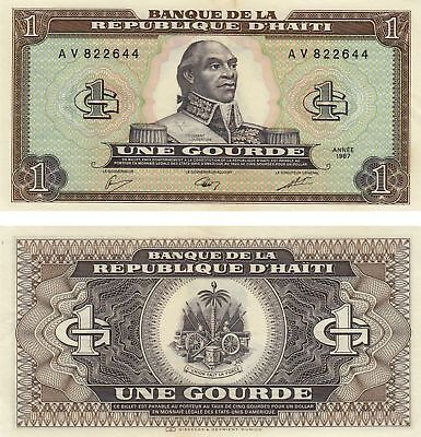 HAITI UNE Gourde Currency Banknote Extreme Fine 1992 ! Free Shipping !!