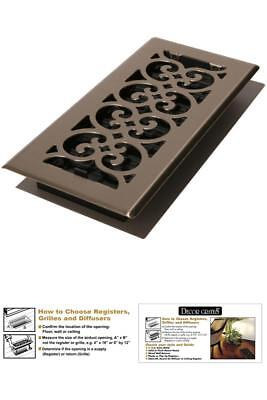 Floor Register Cover Vent Grate Replacement Grill Decor Scroll Damper Box 4X10