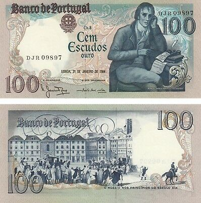 Uncirculated Portugal 100 Escudos Banknote 1984 Unc Bocage S/n Djr 09898!!