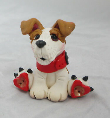Jack Russell Terrier Dog Red Bow Sitting Hearts Collectibles Figurine Original