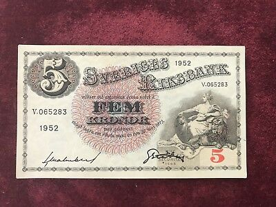 SWEDEN 5 KRONER Unc 1952 KING WOMAN SCARCE EUROPEAN CURRENCY BILL BANK NOTE.