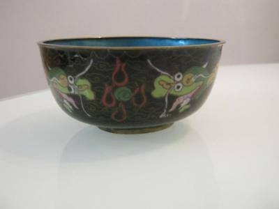 Stunning  Antique Chinese Cloisonne5 Toed Dragon Decorated Bowl