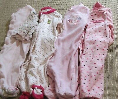 NB Newborn Girl lot of 4 Onepeice sleepers with feet footed Gerber Carters