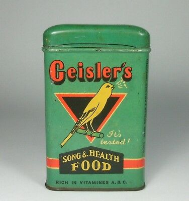 Vintage Geisler's Bird Food Song & Health Food Tin Container Retro Collectable