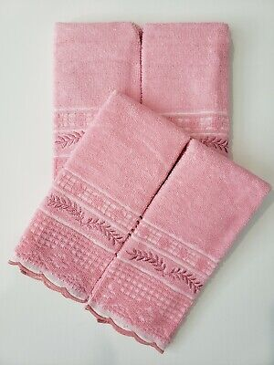 Hand/Fingertip Decorative small Towel 100% Cotton  embroidered. Set of 4 towels.