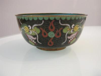 Stunning  Antique Chinese Cloisonne 5 Toed Dragon Decorated Bowl