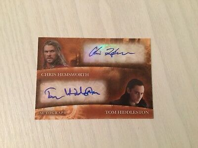 Upper Deck Chris Hemsworth & Tom Hiddleston Dual Autograph Card