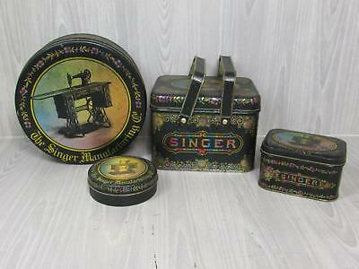 Lot of 4 Bristol Ware Singer Sewing Machine Tins Cookies Buttons Jewelry