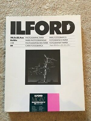 Ilford Multigrade IV  Paper RC deluxe Unopened Box 50 sheets Glossy 10x8 inches