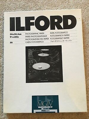 ILFORD MULTIGRADE IV RC DeLuxe 9.5X12 INCHES PPHOTOGRAPHIC PAPER PEARL 18 sheets