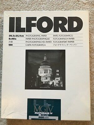 "ILFORD MULTIGRADE IV RC DE LUXE PAPER 10x8"" PEARL approx 90 sheets"