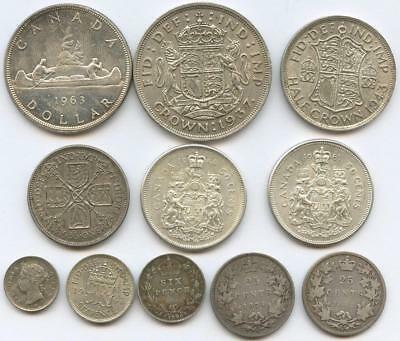 1872-1964 Eleven British & Canadian Silver Coins - Crowns To 5-Cent Silvers