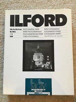 ILFORD MULTIGRADE IV RC DeLuxe PHOTOGRAPHIC PAPER 10x8 inches PEARL 10 SHEETS