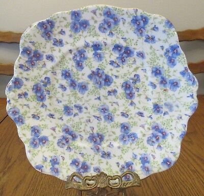 "Vintage Royal Albert Blue Pansy Chintz 9"" Plate-Scalloped-1960's - VG Condition"