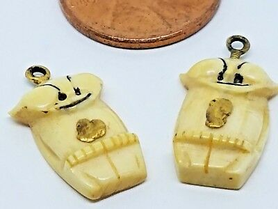 2 OLD AUTHENTIC CARVED ALASKAN BILLIKEN PENDANTS/CHARMS w/ GOLD NUGGETS