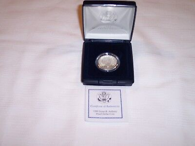 1999 Susan B Anthony Proof Dollar Complete With Box & Coa