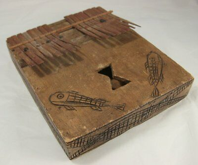 Wooden Hokema w/ Carving of Fishes -  African Look Kalimba Thumb Piano