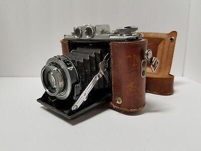 Zeiss Vintage Folding Camera With Leather Case