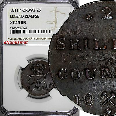 Norway Frederick VI Copper 1811 2 Skilling NGC XF45 BN 1 YEAR TYPE KM# 280.3