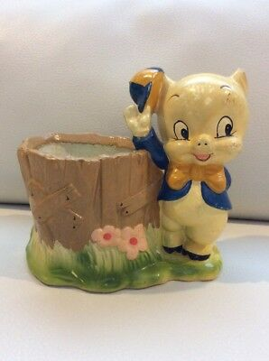 WARNER BROTHERS 1977 PORKY PIG PLANTER Very RARE Collectible Looney Tunes Flower