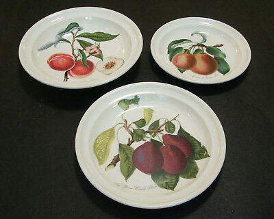 Three piece lot of Portmeirion Pomona:  Two plates and a bowl