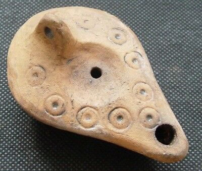 STUNNING ANCIENT ROMAN DECORATED TERRACOTTA OIL LAMP 2 - 6th CENTURY AD - C82