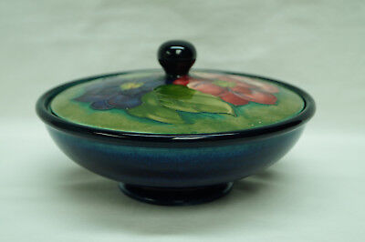"Moorcroft Pottery ""clematis Flower Pattern"" Covered Bowl/dish England"