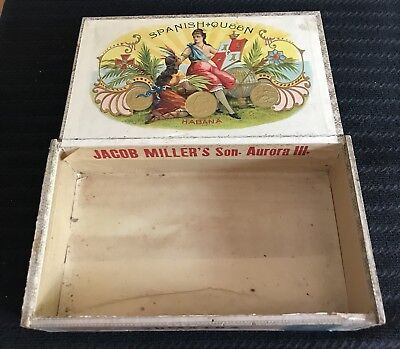 Vtg Wood Cigar Box Jacob Miller & Son Spanish Queen Aurora IL 1883 Tax Stamp