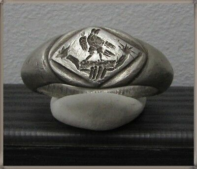 ** LEGIONARY EAGLE ON GALLEY**Ancient Silver Legionary Roman Ring **AMAZING **