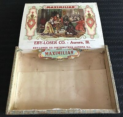 Vtg Wood Cigar Box Maximilian Eby Loser Aurora IL 1909 Tax Stamp