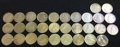 32 Canada 10 Cents Silver 1938-1968 (1 for each year plus a 1947 Maple Leaf)