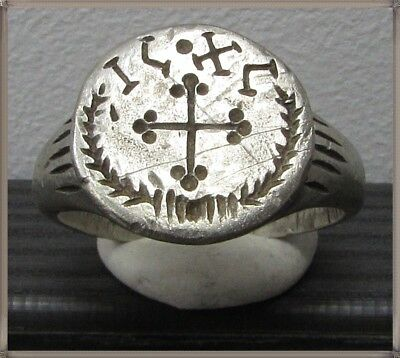 Ancient Silver Byzantine Ring** CROSS **AMAZING**IC-XC**