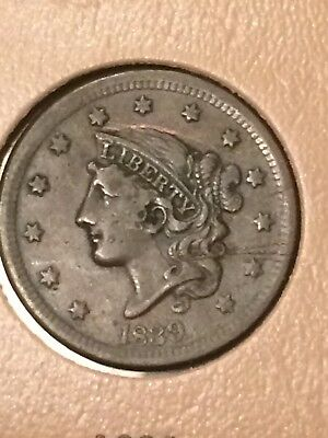 1839 Large Cent Silly Head Nice