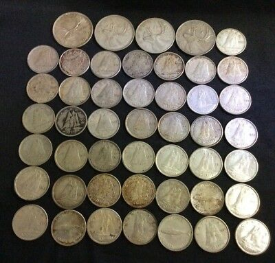 Lot of 43 Canada Silver 10 Cents 1939-68 Plus 4 Silver Quarters
