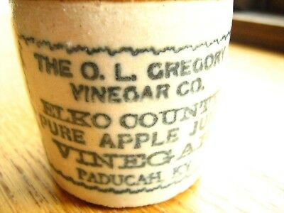 stoneware mini jug O.L.GREGORY ELKO COUNTY PURE APPLE JUICE VINEGAR Paducah KY>