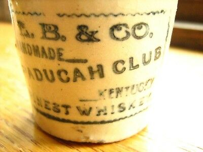 stoneware mini jug L.B. & CO.handmade PADUCAH CLUB Kentucky finest whiskey 2tone