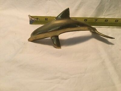 Heavy Solid Brass Dolphin Figurine Paperweight, Nautical, Beach,  Tropical Decor